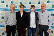 28 September 2019; Jonathan McGrath of Caherlistrane and Galway, with family members John and Ann McGrath, and coach David Glynn, on their arrival at the 2019 Electric Ireland Minor Star Awards. The Hurling and Football Team of the Year was selected by an expert panel of GAA legends including Alan Kerins, Derek McGrath, Karl Lacey and Tomás Quinn. The Electric Ireland GAA Minor Star Awards create a major moment for Minor players, showcasing the outstanding achievements of individual performers throughout the Championship season. The awards also recognise the effort of those who support them day in and day out, from their coaches to parents, clubs and communities. #GAAThisIsMajor  Photo by Seb Daly/Sportsfile