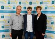28 September 2019; Jonathan McGrath of Caherlistrane and Galway, with family members John and Ann McGrath on their arrival at the 2019 Electric Ireland Minor Star Awards. The Hurling and Football Team of the Year was selected by an expert panel of GAA legends including Alan Kerins, Derek McGrath, Karl Lacey and Tomás Quinn. The Electric Ireland GAA Minor Star Awards create a major moment for Minor players, showcasing the outstanding achievements of individual performers throughout the Championship season. The awards also recognise the effort of those who support them day in and day out, from their coaches to parents, clubs and communities. #GAAThisIsMajor  Photo by Seb Daly/Sportsfile