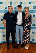 28 September 2019; Dylan Geaney of Dingle and Kerry, with family members Colm and Marie Geaney, on their arrival at the 2019 Electric Ireland Minor Star Awards. The Hurling and Football Team of the Year was selected by an expert panel of GAA legends including Alan Kerins, Derek McGrath, Karl Lacey and Tomás Quinn. The Electric Ireland GAA Minor Star Awards create a major moment for Minor players, showcasing the outstanding achievements of individual performers throughout the Championship season. The awards also recognise the effort of those who support them day in and day out, from their coaches to parents, clubs and communities. #GAAThisIsMajor  Photo by Seb Daly/Sportsfile
