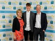 28 September 2019; Darragh Cashman of Millstreet and Cork, with family members Patricia and John Cashman, on their arrival at the 2019 Electric Ireland Minor Star Awards. The Hurling and Football Team of the Year was selected by an expert panel of GAA legends including Alan Kerins, Derek McGrath, Karl Lacey and Tomás Quinn. The Electric Ireland GAA Minor Star Awards create a major moment for Minor players, showcasing the outstanding achievements of individual performers throughout the Championship season. The awards also recognise the effort of those who support them day in and day out, from their coaches to parents, clubs and communities. #GAAThisIsMajor  Photo by Seb Daly/Sportsfile