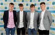 28 September 2019; Michael O'Neill, Darragh Cashman, Daniel Linehan and Conor Corbett of Cork on their arrival at the 2019 Electric Ireland Minor Star Awards. The Hurling and Football Team of the Year was selected by an expert panel of GAA legends including Alan Kerins, Derek McGrath, Karl Lacey and Tomás Quinn. The Electric Ireland GAA Minor Star Awards create a major moment for Minor players, showcasing the outstanding achievements of individual performers throughout the Championship season. The awards also recognise the effort of those who support them day in and day out, from their coaches to parents, clubs and communities. #GAAThisIsMajor  Photo by Seb Daly/Sportsfile