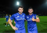 28 September 2019; Leinster debutants Harry Byrne, left, and Michael Milne following the Guinness PRO14 Round 1 match between Benetton and Leinster at Stadio Monigo in Treviso, Italy. Photo by Ramsey Cardy/Sportsfile