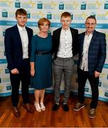 28 September 2019; Shane Meehan of The Banner and Clare, with family members Darren, Angela and Tom Meehan on their arrival at the 2019 Electric Ireland Minor Star Awards. The Hurling and Football Team of the Year was selected by an expert panel of GAA legends including Alan Kerins, Derek McGrath, Karl Lacey and Tomás Quinn. The Electric Ireland GAA Minor Star Awards create a major moment for Minor players, showcasing the outstanding achievements of individual performers throughout the Championship season. The awards also recognise the effort of those who support them day in and day out, from their coaches to parents, clubs and communities. #GAAThisIsMajor  Photo by Seb Daly/Sportsfile