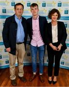 28 September 2019; Michael O'Neill of Buttevant and Cork, with family members Michael and Sarah O'Neill, on their arrival at the 2019 Electric Ireland Minor Star Awards. The Hurling and Football Team of the Year was selected by an expert panel of GAA legends including Alan Kerins, Derek McGrath, Karl Lacey and Tomás Quinn. The Electric Ireland GAA Minor Star Awards create a major moment for Minor players, showcasing the outstanding achievements of individual performers throughout the Championship season. The awards also recognise the effort of those who support them day in and day out, from their coaches to parents, clubs and communities. #GAAThisIsMajor  Photo by Seb Daly/Sportsfile