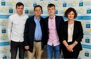 28 September 2019; Michael O'Neill of Buttevant and Cork, with family members Anthony, Michael and Sarah O'Neill, on their arrival at the 2019 Electric Ireland Minor Star Awards. The Hurling and Football Team of the Year was selected by an expert panel of GAA legends including Alan Kerins, Derek McGrath, Karl Lacey and Tomás Quinn. The Electric Ireland GAA Minor Star Awards create a major moment for Minor players, showcasing the outstanding achievements of individual performers throughout the Championship season. The awards also recognise the effort of those who support them day in and day out, from their coaches to parents, clubs and communities. #GAAThisIsMajor  Photo by Seb Daly/Sportsfile