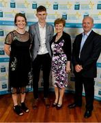 28 September 2019; Peter McDonald of Thomastown and Kilkenny, with family members Kate, Pearl and John McDonald on their arrival at the 2019 Electric Ireland Minor Star Awards. The Hurling and Football Team of the Year was selected by an expert panel of GAA legends including Alan Kerins, Derek McGrath, Karl Lacey and Tomás Quinn. The Electric Ireland GAA Minor Star Awards create a major moment for Minor players, showcasing the outstanding achievements of individual performers throughout the Championship season. The awards also recognise the effort of those who support them day in and day out, from their coaches to parents, clubs and communities. #GAAThisIsMajor  Photo by Seb Daly/Sportsfile