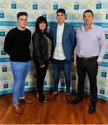 28 September 2019; Ethan Henry of Mayo Gaels and Mayo with Callum, Jackie and Martin Henry on their arrival at the 2019 Electric Ireland Minor Star Awards. The Hurling and Football Team of the Year was selected by an expert panel of GAA legends including Alan Kerins, Derek McGrath, Karl Lacey and Tomás Quinn. The Electric Ireland GAA Minor Star Awards create a major moment for Minor players, showcasing the outstanding achievements of individual performers throughout the Championship season. The awards also recognise the effort of those who support them day in and day out, from their coaches to parents, clubs and communities. #GAAThisIsMajor  Photo by Seb Daly/Sportsfile