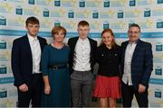 28 September 2019; Shane Meehan of The Banner and Clare, with family members Darren, Angela, Ciara and Tom Meehan on their arrival at the 2019 Electric Ireland Minor Star Awards. The Hurling and Football Team of the Year was selected by an expert panel of GAA legends including Alan Kerins, Derek McGrath, Karl Lacey and Tomás Quinn. The Electric Ireland GAA Minor Star Awards create a major moment for Minor players, showcasing the outstanding achievements of individual performers throughout the Championship season. The awards also recognise the effort of those who support them day in and day out, from their coaches to parents, clubs and communities. #GAAThisIsMajor  Photo by Seb Daly/Sportsfile