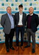 28 September 2019; Ronan Boyle of Truagh Gaels and Monaghan with coaches Mark O'Connor and Mark Counihan on their arrival at the 2019 Electric Ireland Minor Star Awards. The Hurling and Football Team of the Year was selected by an expert panel of GAA legends including Alan Kerins, Derek McGrath, Karl Lacey and Tomás Quinn. The Electric Ireland GAA Minor Star Awards create a major moment for Minor players, showcasing the outstanding achievements of individual performers throughout the Championship season. The awards also recognise the effort of those who support them day in and day out, from their coaches to parents, clubs and communities. #GAAThisIsMajor  Photo by Seb Daly/Sportsfile