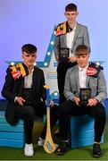 28 September 2019; Pictured are Kilkenny's Minor hurlers, from left, Billy Drennan, Peter McDonald and Aidan Tallis who were named on the Electric Ireland Minor Hurling Team of the Year at the 2019 Electric Ireland Minor Star Awards. The Hurling Team of the Year was selected by an expert panel of GAA legends including Alan Kerins, Derek McGrath, Karl Lacey and Tomás Quinn. The Electric Ireland GAA Minor Star Awards create a major moment for Minor players, showcasing the outstanding achievements of individual performers throughout the Championship season. The awards also recognise the effort of those who support them day in and day out, from their coaches to parents, clubs and communities. #GAAThisIsMajor Photo by Seb Daly/Sportsfile