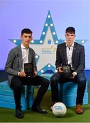 28 September 2019; Pictured are Tyrone's Minor footballer James Donaghy, left, and Monaghan's Minor footballer Ronan Boyle who were named on the Electric Ireland Minor Football Team of the Year at the 2019 Electric Ireland Minor Star Awards. The Football Team of the Year was selected by an expert panel of GAA legends including Alan Kerins, Derek McGrath, Karl Lacey and Tomás Quinn. The Electric Ireland GAA Minor Star Awards create a major moment for Minor players, showcasing the outstanding achievements of individual performers throughout the Championship season. The awards also recognise the effort of those who support them day in and day out, from their coaches to parents, clubs and communities. #GAAThisIsMajor Photo by Seb Daly/Sportsfile