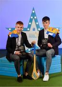 28 September 2019; Pictured are Clare's Minor hurlers Shane Meehan, left, and Cian Galvin who were named on the Electric Ireland Minor Hurling Team of the Year at the 2019 Electric Ireland Minor Star Awards. The Hurling Team of the Year was selected by an expert panel of GAA legends including Alan Kerins, Derek McGrath, Karl Lacey and Tomás Quinn. The Electric Ireland GAA Minor Star Awards create a major moment for Minor players, showcasing the outstanding achievements of individual performers throughout the Championship season. The awards also recognise the effort of those who support them day in and day out, from their coaches to parents, clubs and communities. #GAAThisIsMajor Photo by Seb Daly/Sportsfile