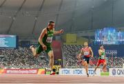28 September 2019; Thomas Barr of Ireland dips for the line whilst competing in the Men's 400m Hurdles Semi-Finals during day two of the World Athletics Championships 2019 at Khaifa International Stadium in Doha, Qatar. Photo by Sam Barnes/Sportsfile