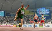 28 September 2019; Thomas Barr of Ireland dips for the line whilst competing in the Men's 400m Hurdles Semi-Finals during day two of the World Athletics Championships 2019 at Khalifa International Stadium in Doha, Qatar. Photo by Sam Barnes/Sportsfile