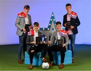 28 September 2019; Pictured are Cork's Minor footballers, from left, Daniel Linehan, Darragh Cashman, Conor Corbett and Michael O'Neill who were named on the Electric Ireland Minor Football Team of the Year at the 2019 Electric Ireland Minor Star Awards. The Football Team of the Year was selected by an expert panel of GAA legends including Alan Kerins, Derek McGrath, Karl Lacey and Tomás Quinn. The Electric Ireland GAA Minor Star Awards create a major moment for Minor players, showcasing the outstanding achievements of individual performers throughout the Championship season. The awards also recognise the effort of those who support them day in and day out, from their coaches to parents, clubs and communities. #GAAThisIsMajor Photo by Seb Daly/Sportsfile