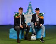 28 September 2019; Pictured are Kerry's Minor footballers Devon Burns, left, and Dylan Geaney who were named on the Electric Ireland Minor Football Team of the Year at the 2019 Electric Ireland Minor Star Awards. The Football Team of the Year was selected by an expert panel of GAA legends including Alan Kerins, Derek McGrath, Karl Lacey and Tomás Quinn. The Electric Ireland GAA Minor Star Awards create a major moment for Minor players, showcasing the outstanding achievements of individual performers throughout the Championship season. The awards also recognise the effort of those who support them day in and day out, from their coaches to parents, clubs and communities. #GAAThisIsMajor Photo by Seb Daly/Sportsfile