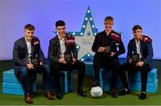 28 September 2019; Pictured are Galway's Minor footballers, from left, Jonathan McGrath, Tomo Culhane, James McLaughlin and Daniel Cox who were named on the Electric Ireland Minor Football Team of the Year at the 2019 Electric Ireland Minor Star Awards. The Football Team of the Year was selected by an expert panel of GAA legends including Alan Kerins, Derek McGrath, Karl Lacey and Tomás Quinn. The Electric Ireland GAA Minor Star Awards create a major moment for Minor players, showcasing the outstanding achievements of individual performers throughout the Championship season. The awards also recognise the effort of those who support them day in and day out, from their coaches to parents, clubs and communities. #GAAThisIsMajor Photo by Seb Daly/Sportsfile