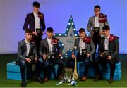 28 September 2019; Pictured are Galway's Minor hurlers, from left, Alex Connaire, Greg Thomas, Seán McDonagh, Ian McGlynn, Eoin Lawless and Christy Brennan who were named on the Electric Ireland Minor Hurling Team of the Year at the 2019 Electric Ireland Minor Star Awards. The Hurling Team of the Year was selected by an expert panel of GAA legends including Alan Kerins, Derek McGrath, Karl Lacey and Tomás Quinn. The Electric Ireland GAA Minor Star Awards create a major moment for Minor players, showcasing the outstanding achievements of individual performers throughout the Championship season. The awards also recognise the effort of those who support them day in and day out, from their coaches to parents, clubs and communities. #GAAThisIsMajor Photo by Seb Daly/Sportsfile