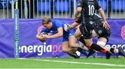 28 September 2019; Niall Comerford of Leinster scores a second half try during The Celtic Cup Round 6 match between Leinster and Dragons at Energia Park in Donnybrook, Dublin. Photo by Piaras Ó Mídheach/Sportsfile