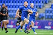 28 September 2019; Gavin Mullin of Leinster on his way to scoring his side's second try during The Celtic Cup Round 6 match between Leinster and Dragons at Energia Park in Donnybrook, Dublin. Photo by Piaras Ó Mídheach/Sportsfile