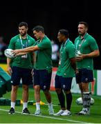 28 September 2019; Ireland players, from left, Robbie Henshaw, Jonathan Sexton, Bundee Aki and Jack Conan watch Japan in the warm-up prior to the 2019 Rugby World Cup Pool A match between Japan and Ireland at the Shizuoka Stadium Ecopa in Fukuroi, Shizuoka Prefecture, Japan. Photo by Brendan Moran/Sportsfile