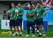 28 September 2019; Ireland players, from left, Jonathan Sexton, Robbie Henshaw, Bundee Aki and Jack Conan watch Japan in the warm-up prior to the 2019 Rugby World Cup Pool A match between Japan and Ireland at the Shizuoka Stadium Ecopa in Fukuroi, Shizuoka Prefecture, Japan. Photo by Brendan Moran/Sportsfile