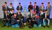 28 September 2019; The Electric Ireland Minor Football Team of the Year, back row, from left, Darragh Cashman of Millstreet and Cork, James Donaghy of Carrickmore St. Colmcilles and Tyrone, Ethan Henry of Mayo Gaels and Mayo, James McLaughlin of Moycullen and Galway, Michael O'Neill of Buttevant and Cork, Daniel Linehan of Castlemagner and Cork, and Oisín Tunney of Breaffy and Mayo, front row, from left, Devon Burns of Na Gaeil and Kerry, Aaron Browne of Celbridge and Kildare, Jonathan McGrath of Caherlistrane and Galway, Tomo Culhane of Salthill-Knocknacarra and Galway, Conor Corbett of Clyda Rovers and Cork, Daniel Cox of Moycullen and Galway, Ronan Boyle of Truagh Gaels and Monaghan, and Kerry and Dylan Geaney of Dingle and Kerry, at the 2019 Electric Ireland Minor Star Awards. The Football Team of the Year was selected by an expert panel of GAA legends including Alan Kerins, Derek McGrath, Karl Lacey and Tomás Quinn. The Electric Ireland GAA Minor Star Awards create a major moment for Minor players, showcasing the outstanding achievements of individual performers throughout the Championship season. The awards also recognise the effort of those who support them day in and day out, from their coaches to parents, clubs and communities. #GAAThisIsMajor  Photo by Seb Daly/Sportsfile