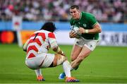 28 September 2019; Chris Farrell of Ireland in action against Keita Inagaki of Japan during the 2019 Rugby World Cup Pool A match between Japan and Ireland at the Shizuoka Stadium Ecopa in Fukuroi, Shizuoka Prefecture, Japan. Photo by Brendan Moran/Sportsfile