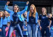 29 September 2019; Dublin players, from left, Sinéad Goldrick, Ciara Trant and   Sinéad Aherne during the Dublin Senior Football teams homecoming at Merrion Square in Dublin. Photo by Piaras Ó Mídheach/Sportsfile