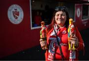 29 September 2019; Sligo Rovers supporter Susan Brennan and her 'chickens' prior to the Extra.ie FAI Cup Semi-Final match between Sligo Rovers and Dundalk at The Showgrounds in Sligo. Photo by Stephen McCarthy/Sportsfile