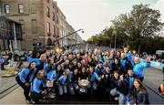 29 September 2019; The Dublin ladies football team celebrate on stage during the Dublin Senior Football teams homecoming with the Sam Maguire Cup at Merrion Square in Dublin. Photo by David Fitzgerald/Sportsfile