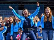 29 September 2019; Dublin footballer Sinéad Goldrick celebrates on stage during the Dublin Senior Football teams homecoming at Merrion Square in Dublin. Photo by Piaras Ó Mídheach/Sportsfile
