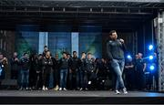 29 September 2019; Kevin McManamon singing during the Dublin Senior Football teams homecoming at Merrion Square in Dublin. Photo by David Fitzgerald/Sportsfile