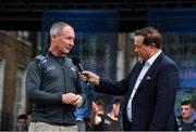 29 September 2019; MC Marty Morrissey interviews Dublin manager Jim Gavin during the Dublin Senior Football teams homecoming at Merrion Square in Dublin. Photo by Piaras Ó Mídheach/Sportsfile