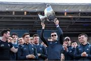 29 September 2019; Paddy Andrews celebrates with the Sam Maguire Cup during the Dublin Senior Football teams homecoming at Merrion Square in Dublin. Photo by Piaras Ó Mídheach/Sportsfile