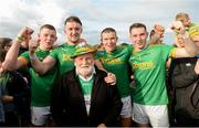 29 September 2019; Keelan Molloy, Conor McKinley, Kevin McKeague and Ryan McGarr of Dunloy celebrate with Dunloy supporter John Eddie O'Kane after the Antrim County Senior Club Hurling Final match between Cushendall Ruairí Óg and Dunloy at Ballycastle in Antrim. Photo by Oliver McVeigh/Sportsfile