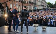 29 September 2019; Dublin players Stephen Cluxton, right, and Jonny Cooper on stage with MC Marty Morrissey during the Dublin Senior Football teams homecoming with the Sam Maguire Cup at Merrion Square in Dublin. Photo by David Fitzgerald/Sportsfile