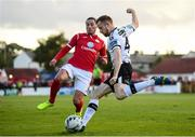 29 September 2019; Seán Hoare of Dundalk in action against Ronan Coughlan of Sligo Rovers during the Extra.ie FAI Cup Semi-Final match between Sligo Rovers and Dundalk at The Showgrounds in Sligo. Photo by Stephen McCarthy/Sportsfile
