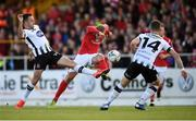 29 September 2019; Kris Twardek of Sligo Rovers in action against Robbie Benson of Dundalk during the Extra.ie FAI Cup Semi-Final match between Sligo Rovers and Dundalk at The Showgrounds in Sligo. Photo by Stephen McCarthy/Sportsfile