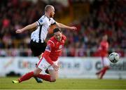 29 September 2019; Ronan Coughlan of Sligo Rovers is tackled by Chris Shields of Dundalk during the Extra.ie FAI Cup Semi-Final match between Sligo Rovers and Dundalk at The Showgrounds in Sligo. Photo by Stephen McCarthy/Sportsfile