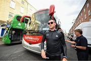29 September 2019; Paddy Andrews of Dublin comes off the bus during the Dublin Senior Football teams homecoming at Merrion Square in Dublin. Expressway as official carriers of the Dublin senior football team are proud to have carried the Dubs to a historic 5 in a row. Expressway has been official carriers of Dublin GAA since 2015 and each year since Dublin have won the Sam Maguire trophy. Photo by David Fitzgerald/Sportsfile