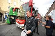 29 September 2019; Ciaran Kilkenny gets off the bus during the Dublin Senior Football teams homecoming at Merrion Square in Dublin. Expressway as official carriers of the Dublin senior football team are proud to have carried the Dubs to a historic 5 in a row. Expressway has been official carriers of Dublin GAA since 2015 and each year since Dublin have won the Sam Maguire trophy. Photo by David Fitzgerald/Sportsfile