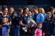 29 September 2019; Dublin captain Sinéad Aherne with the Brendan Martin Cup during the Dublin Senior Football teams homecoming at Merrion Square in Dublin. Photo by Piaras Ó Mídheach/Sportsfile