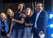 29 September 2019; Niamh McEvoy is interviewed by MC Marty Morrissey during the Dublin Senior Football teams homecoming at Merrion Square in Dublin. Photo by Piaras Ó Mídheach/Sportsfile