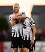 29 September 2019; Chris Shields, left, and Michael Duffy of Dundalk celebrate following the Extra.ie FAI Cup Semi-Final match between Sligo Rovers and Dundalk at The Showgrounds in Sligo. Photo by Stephen McCarthy/Sportsfile