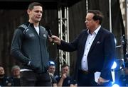 29 September 2019; MC Marty Morrissey interviews Stephen Cluxton during the Dublin Senior Football teams homecoming at Merrion Square in Dublin. Photo by Piaras Ó Mídheach/Sportsfile