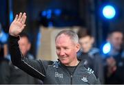 29 September 2019; Dublin manager Jim Gavin waves to supporters during the Dublin Senior Football teams homecoming with the Sam Maguire Cup at Merrion Square in Dublin. Photo by Piaras Ó Mídheach/Sportsfile