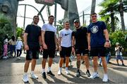 30 September 2019; Members of the Ireland rugby squad, from left, Jack Carty, Jacob Stockdale, Jordan Larmour, Andrew Porter and Garry Ringrose during a visit to Universal Studios in Osaka, Japan. Photo by Brendan Moran/Sportsfile