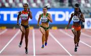 30 September 2019; Phil Healy of Ireland, centre, competing in Women's 200m alongside Sarah Atcho of Switzerland, left, and Kamaria Durant of Trinidad and Tobago, right, during day four of the World Athletics Championships 2019 at the Khalifa International Stadium in Doha, Qatar. Photo by Sam Barnes/Sportsfile