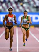 30 September 2019; Phil Healy of Ireland, centre, competing in Women's 200m alongside Sarah Atcho of Switzerland, left, during day four of the World Athletics Championships 2019 at the Khalifa International Stadium in Doha, Qatar. Photo by Sam Barnes/Sportsfile